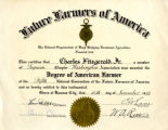 A degree from the Future Farmers of America for raising poultry, Sequim, WA, 1932